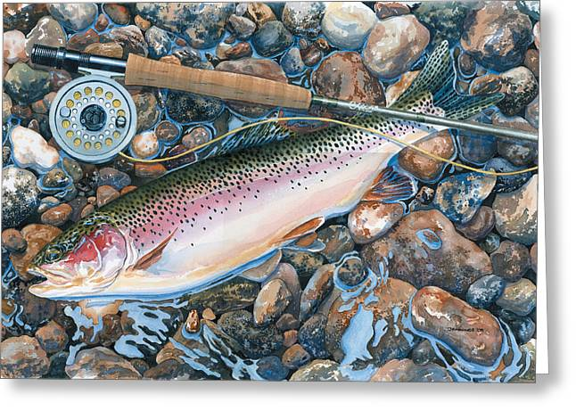 Recently Sold -  - Fishing Creek Greeting Cards - Actual Size Greeting Card by Mark Jennings