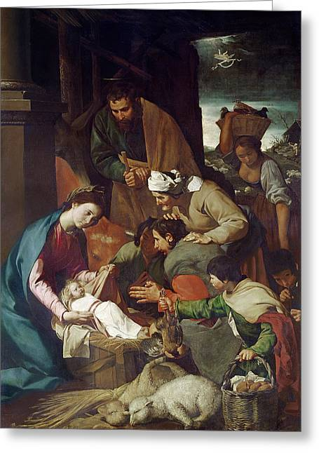 Adoration Of The Shepherds Greeting Card by Bartolome Esteban Murillo