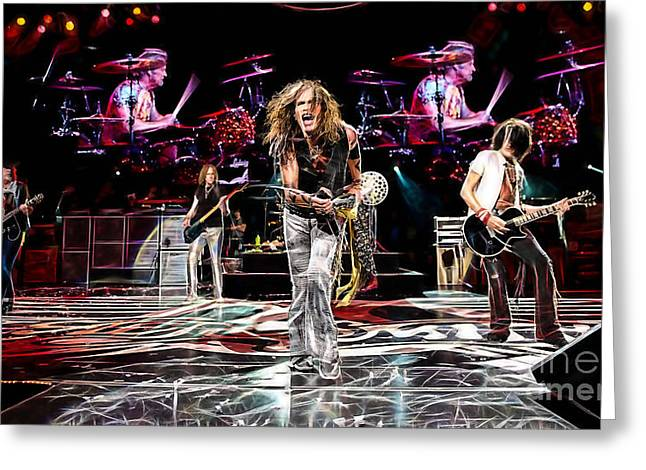 Musicians Mixed Media Greeting Cards - Aerosmith Collection Greeting Card by Marvin Blaine