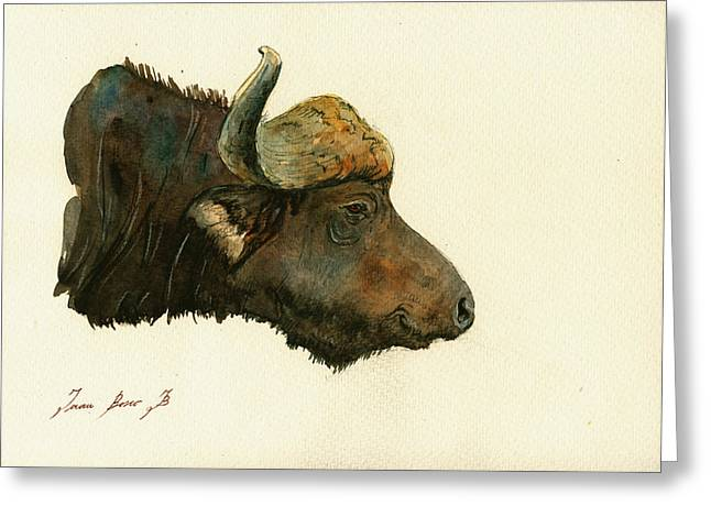 Buffalo Art Greeting Cards - African buffalo watercolor painting Greeting Card by Juan  Bosco