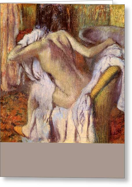 Print Pastels Greeting Cards - After the bath woman drying herself  Greeting Card by Edgar Degas