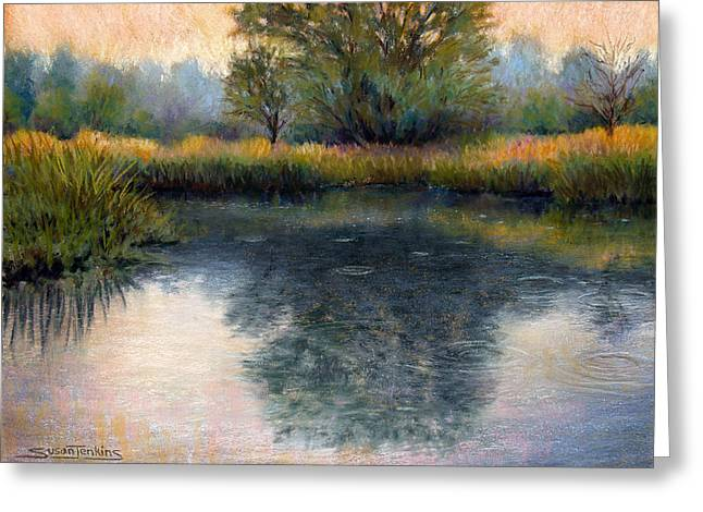Rain Drop Pastels Greeting Cards - After the Rain Greeting Card by Susan Jenkins
