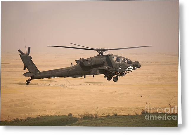 Iraq Greeting Cards - Ah-64d Apache Helicopter On A Mission Greeting Card by Terry Moore