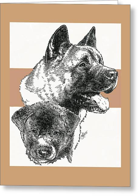 Working Dog Greeting Cards - Akita Father and Son Greeting Card by Barbara Keith