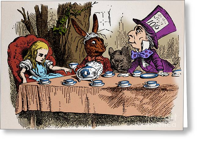 Pen And Ink Drawing Photographs Greeting Cards - Alice In Wonderland Greeting Card by Photo Researchers, Inc.