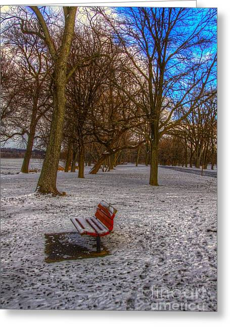 Park Benches Greeting Cards - Alone Greeting Card by Robert Pearson