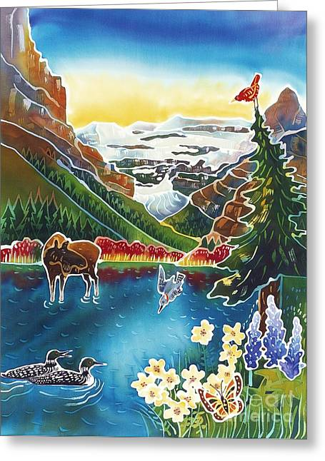 Montana Landscape Art Greeting Cards - Alpine Lake Sunrise Greeting Card by Harriet Peck Taylor