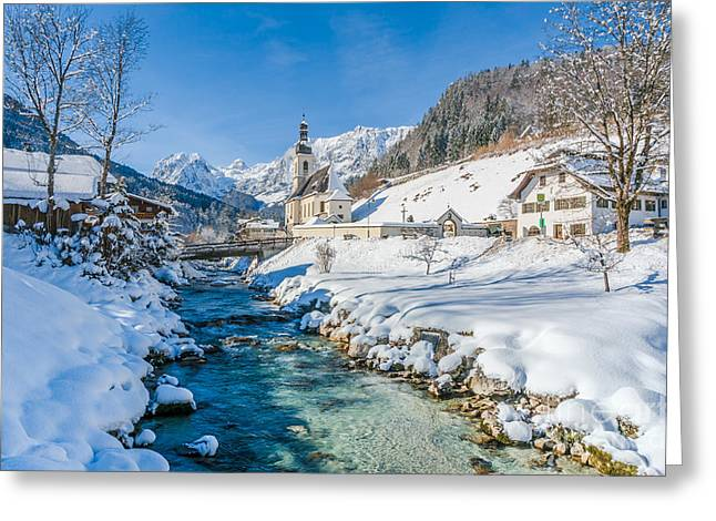 Salzburg Greeting Cards - Alpine winter Beauty with snowy church and river Greeting Card by JR Photography