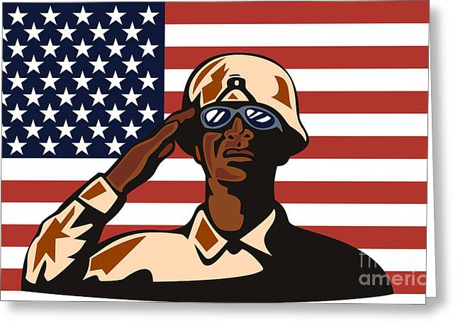African-american Digital Greeting Cards - American soldier saluting flag Greeting Card by Aloysius Patrimonio