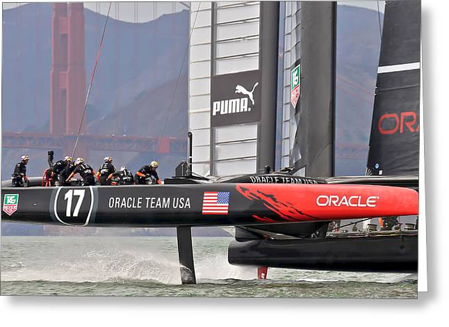 Americas Cup Greeting Cards - Americas Cup Oracle 2013 Greeting Card by Steven Lapkin