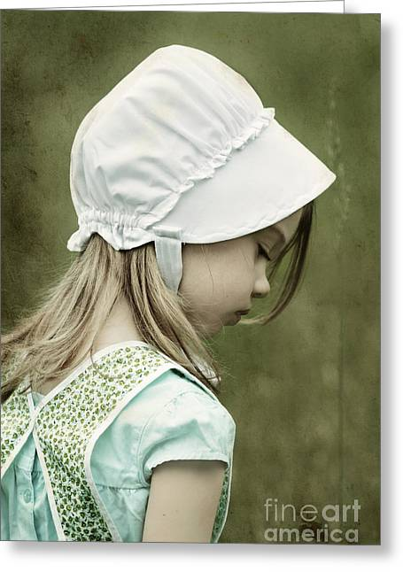 Girl Looking Down Greeting Cards - Amish Child Greeting Card by Stephanie Frey