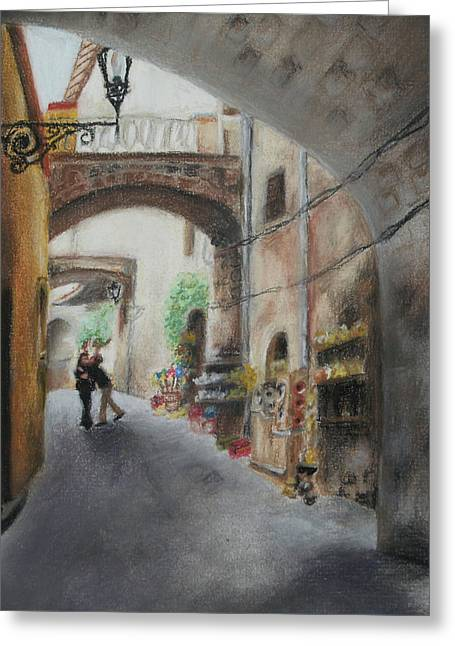 Italian Landscape Pastels Greeting Cards - Amore Greeting Card by Ra A