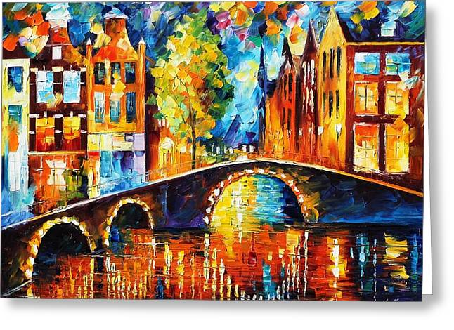 Amsterdam Paintings Greeting Cards - Amsterdam Greeting Card by Leonid Afremov