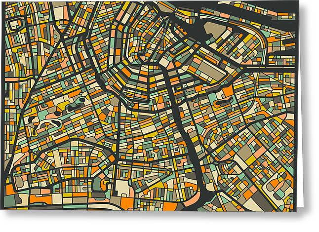 Amsterdam Digital Greeting Cards - Amsterdam Map Greeting Card by Jazzberry Blue