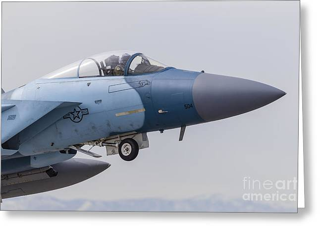 Aggressor Greeting Cards - An Aggressor F-15c Eagle Of The U.s Greeting Card by Rob Edgcumbe