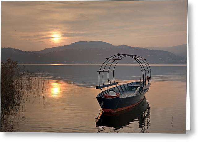 Maggiore Greeting Cards - an evening at the Lake Maggiore Greeting Card by Joana Kruse