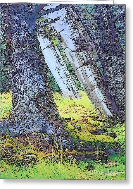 Charlotte Digital Art Greeting Cards - Ancient Totems of Haida Gwai Greeting Card by Lisa Dunn