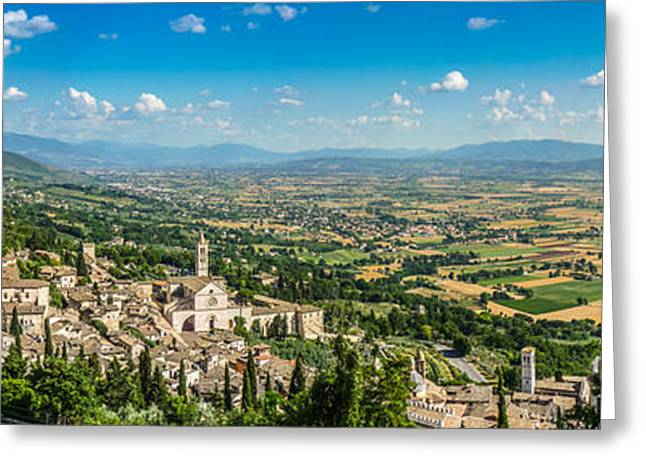 Town Square Greeting Cards - Ancient town of Assisi, Umbria, Italy Greeting Card by JR Photography