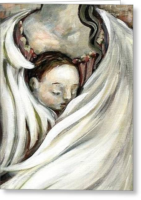 Carrie Joy Byrnes Greeting Cards - Angel and Baby Greeting Card by Carrie Joy Byrnes
