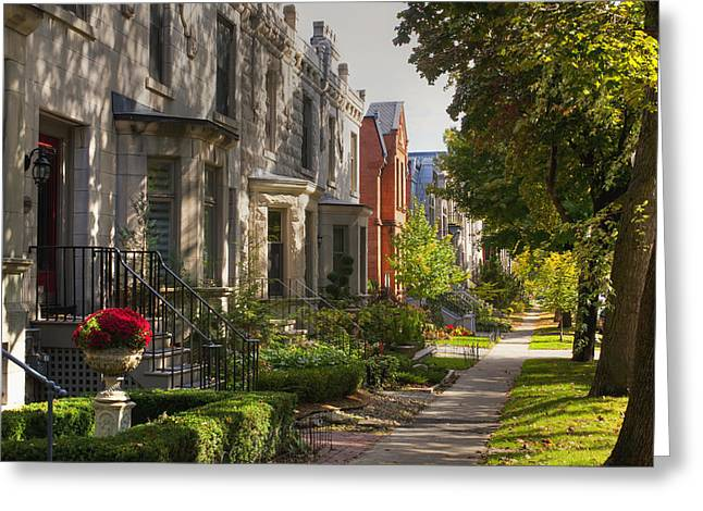 Heritage Montreal Greeting Cards - Apartment Buildings Along City Street Greeting Card by David Chapman