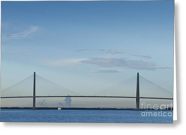 Arthur Greeting Cards - Arthur Ravenel Jr Bridge Charleston SC Cooper River Greeting Card by Dustin K Ryan