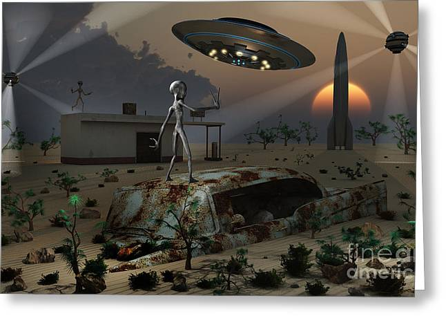 Artists Concept Of A Science Fiction Greeting Card by Mark Stevenson