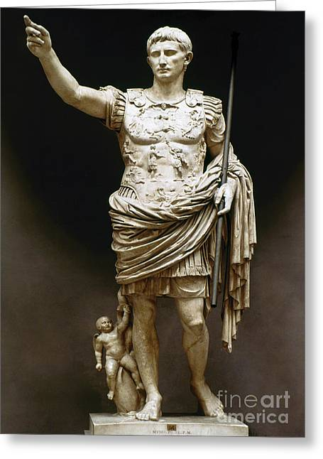 Recently Sold -  - Statue Portrait Greeting Cards - Augustus (63 B.c.-14 A.d.) Greeting Card by Granger