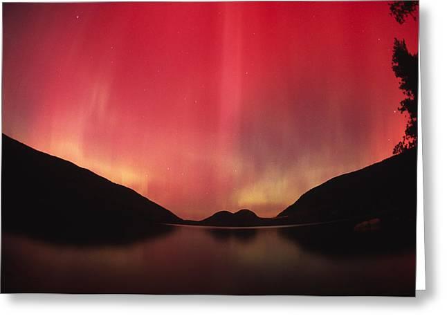 Aurora Borealis Over Jordan Pond Greeting Card by Michael Melford