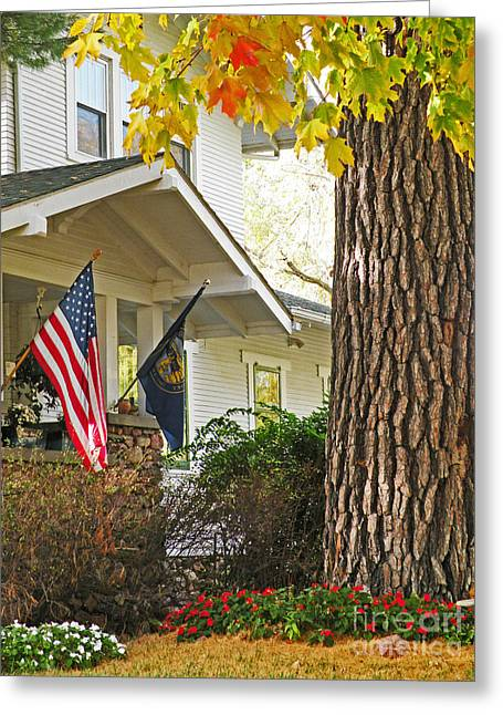Autumn In Small Town America Greeting Card by Christine Belt