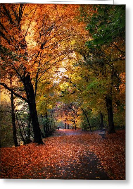People Walking Greeting Cards - Autumn Promenade Greeting Card by Jessica Jenney