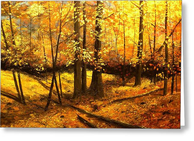 Woods Greeting Cards - Autumns Hidden Sanctuary II Greeting Card by Connie Tom