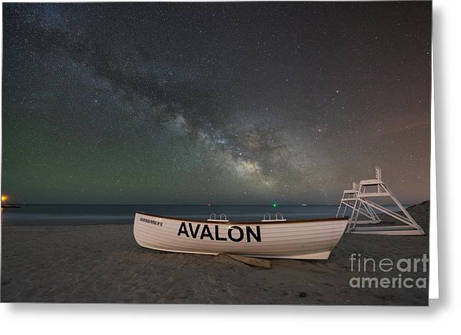 Beach At Night Greeting Cards - Avalon Milky Way Greeting Card by Michael Ver Sprill