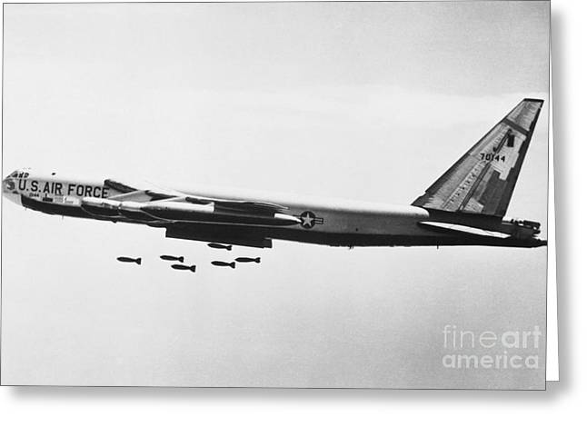Dropping Greeting Cards - B-52 Bomber Greeting Card by Omikron
