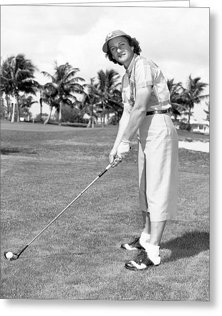 """golf Caps"" Greeting Cards - Babe Didrikson Golfing Greeting Card by Underwood Archives"
