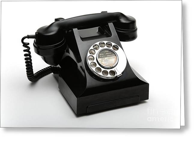 Industrial Background Greeting Cards - Bakelite Telephone Greeting Card by Victor de Schwanberg