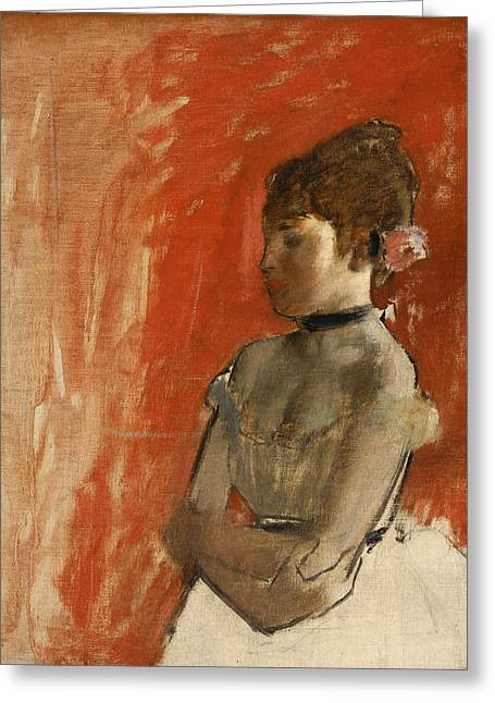 Ballet Dancer With Arms Crossed Greeting Card by Edgar Degas
