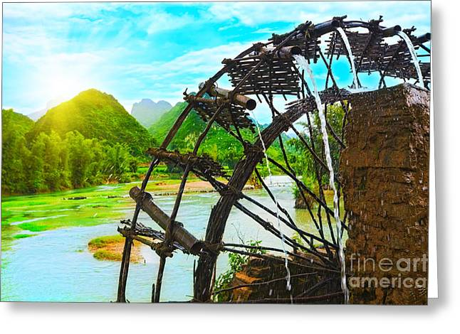 Hydro Greeting Cards - Bamboo water wheel Greeting Card by MotHaiBaPhoto Prints