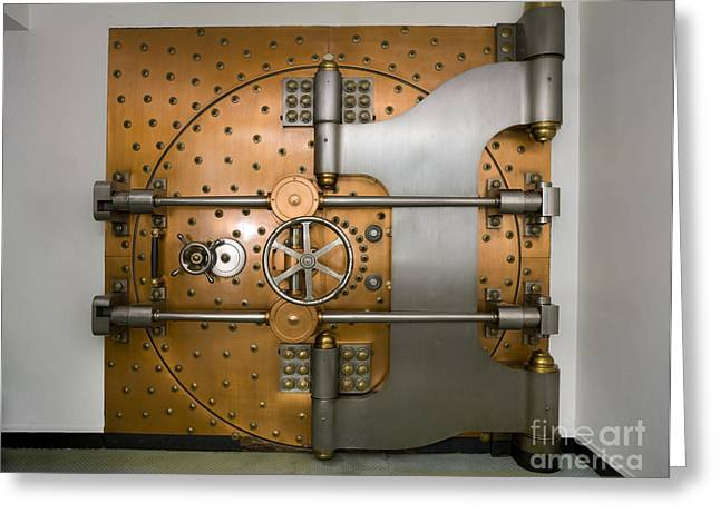 Tumbler Greeting Cards - Bank Vault Door Exterior Greeting Card by Adam Crowley