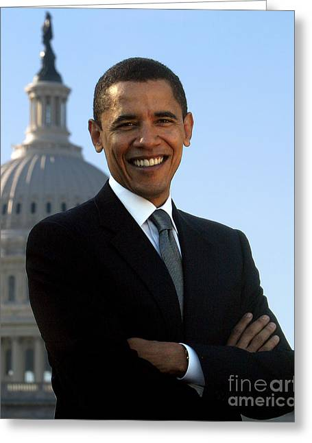 44th President Greeting Cards - Barack Obama Greeting Card by Celestial Images