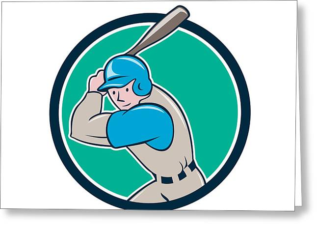 Batting Helmet Greeting Cards - Baseball Player Batting Circle Cartoon Greeting Card by Aloysius Patrimonio