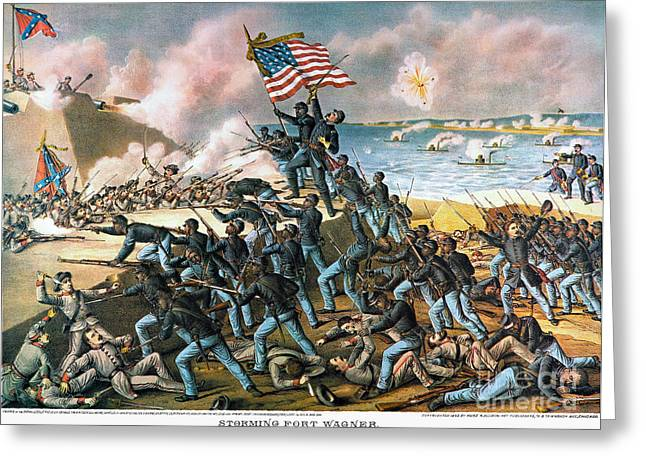 Troops Photographs Greeting Cards - Battle Of Fort Wagner, 1863 Greeting Card by Granger