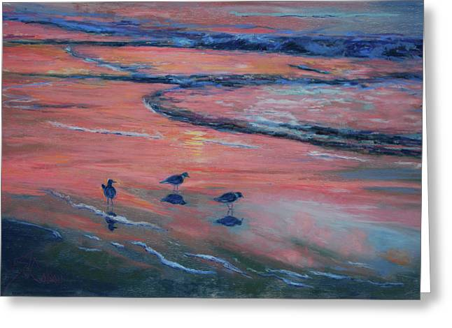 Sunrise On Beach Greeting Cards - Beach Combers Greeting Card by Billie Colson