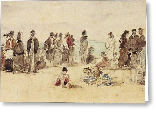 Beach Scene Greeting Card by Eugene Louis Boudin