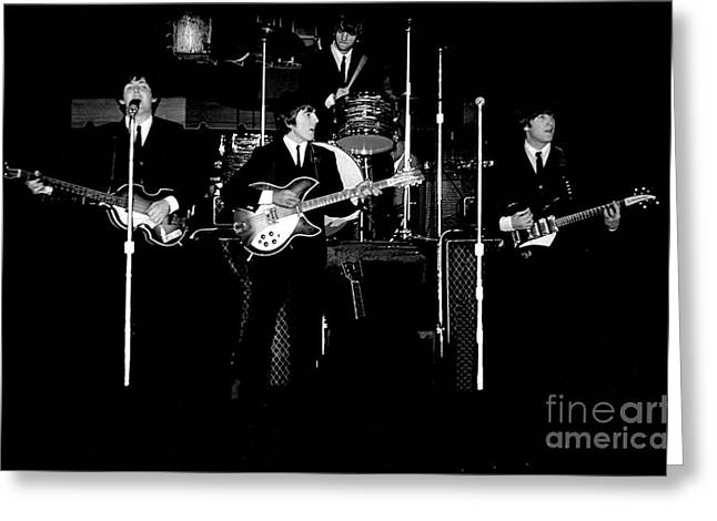 Paul Mccartney Greeting Cards - Beatles In Concert 1964 Greeting Card by Larry Mulvehill