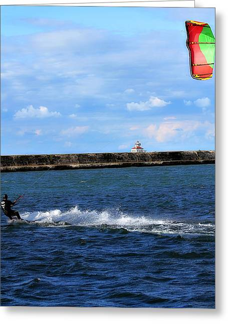 Kite Boarding Greeting Cards - Beautiful Day Greeting Card by Celestial  Blue