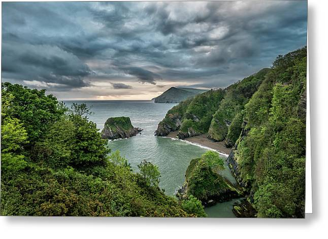 Beautiful Dramatic Sunrise Landsape Image Of Small Secluded Cove Greeting Card by Matthew Gibson