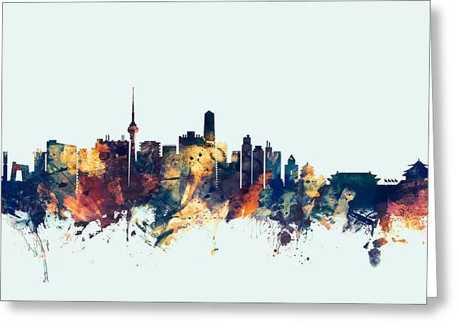 Peking Greeting Cards - Beijing China Skyline Greeting Card by Michael Tompsett