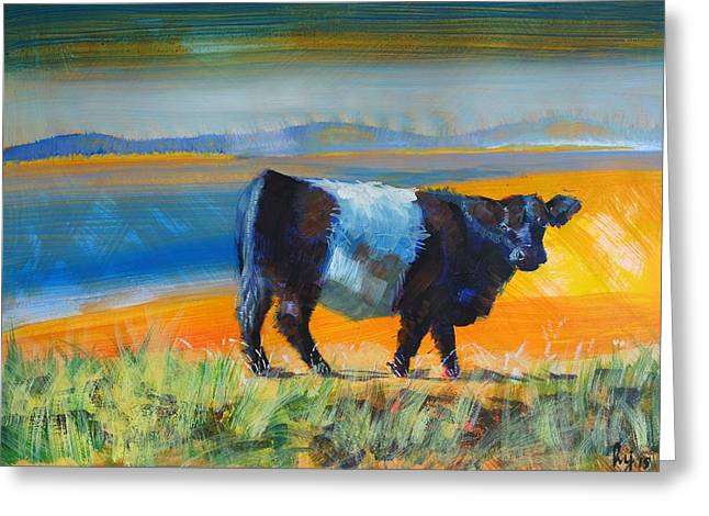 Belt Drawings Greeting Cards - Belted Galloway Cow Greeting Card by Mike Jory