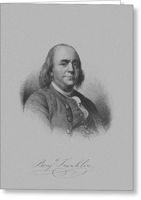 Artwork Mixed Media Greeting Cards - Benjamin Franklin Greeting Card by War Is Hell Store