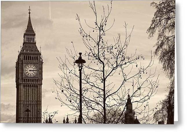 Large Clocks Greeting Cards - Big Ben at Dusk Greeting Card by Reisehu